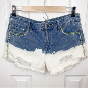 FREE PEOPLE 27 Bleached Denim Shorts w Embroidery